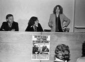 Anna Coote speaking 1979 NUJ Meeting debating sexist imagery of 'Page 3 girls' in The MIner, the paper of the NUM - Nick Oakes - 1970s,1979,Anna Coote,Arthur Scargill,bigotry,debate,debating,DISCRIMINATION,equal,equal rights,equality,FEMALE,feminism,feminist,feminists,inequality,journalism,journalist,journalists,male,Male Chauv