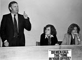 Arthur Scargill NUM speaking, 1979 NUJ Meeting debating sexist imagery of 'Page 3 girls' in The MIner, the paper of the NUM - Nick Oakes - 1970s,1979,Anna Coote,Arthur Scargill,bigotry,debate,debating,DISCRIMINATION,equal,equal rights,equality,FEMALE,feminism,feminist,feminists,inequality,journalism,journalist,journalists,male,Male Chauv
