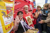 Jeremy Corbyn with a Waspi woman, who was taught by his mother (pictured), Tolpuddle Martyrs Festival, Dorset. - Jess Hurd - 21-07-2019