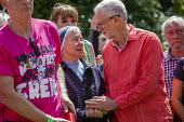 Jeremy Corbyn with supportive, emotional nun, Tolpuddle Martyrs Festival, Dorset. - Jess Hurd - 21-07-2019