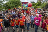 Jeremy Corbyn, Frances O'Grady and Mark Serwotka, PCS lead Tolpuddle Martyrs Festival procession, Dorset - Jess Hurd - 2010s,2019,banner,banners,Dorset,Festival,FESTIVALS,Jeremy Corbyn,Labour Party,Mark Serwotka,member,member members,members,MP,MPs,PCS,people,person,persons,politician,politicians,procession,Tolpuddle