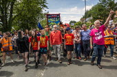 Jeremy Corbyn, Frances O'Grady and Mark Serwotka, PCS lead Tolpuddle Martyrs Festival procession, Dorset - Jess Hurd - 21-07-2019
