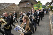 RMT members, Tolpuddle Martyrs Festival, Dorset. - Jess Hurd - 2010s,2019,bands,banner,banners,Brass Band,Dorset RMT,Festival,FESTIVALS,member,member members,members,PEOPLE,procession,RMT,Tolpuddle Martyrs Festival,Tolpuddle Martyrs' Festival,Trade Union,Trade Un