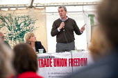 Mark Serwotka PCS speaking (L) Carolyn Jones, CTUF meeting Tolpuddle Martyrs Festival, Dorset - Jess Hurd - 21-07-2019