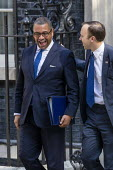 James Cleverly and Matt Hancock leaving Downing Street after their first cabinet meeting, Westminster, London. - Jess Hurd - 2010s,2019,Boris Johnson,cabinet,CONSERVATIVE,Conservative Party,conservatives,Downing Street,James Cleverly,leaving,London,male,man,Matt Hancock,meeting,MEETINGS,men,MP,MPs,people,person,persons,POL,