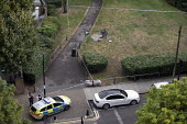 Stabbing crime scene with pool of blood visible on an E3 estate, Tower Hamlets, East London. 16 year old victim received non life threatening injuries - Jess Hurd - 25-07-2019