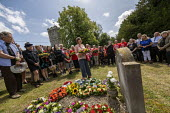 Frances O���Grady TUC, laying a wreath at the grave of on the grave of James Hammett, Tolpuddle Martyrs Festival, Dorset - Jess Hurd - 2010s,2019,cemeteries,cemetery,dead,death,deaths,died,Dorset,Festival,FESTIVALS,floral tribute,floral tributes,flower,flowering,flowers,Frances O'Grady,Gen Sec,grave,graves,gravestone,gravestones,grav