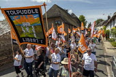 GMB banner with Tim Roache at Tolpuddle Martyrs Festival, Dorset. - Jess Hurd - 21-07-2019