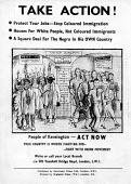 Racist poster put up on streets by Fascist Union Movement at the time of the Notting Hill Riots 1958Racist poster put up on streets by Fascist Union Movement at the time of the Notting Hill Riots 1958... - Alan Vines - 11-09-1958