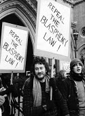 Protest as Gay News appeal against charges of Blasphemy, 1978, High Court, The Strand, London. The magazine published a poem that ��^ as the subject of a high profile blasphemy trial a year later ��^... - Ian McIntosh - 13-02-1978