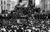Arthur Scargill NUM speaking Peoples March for Jobs rally 1981, Trafalgar Square, London - Ian McIntosh - 01-06-1981