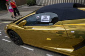 Free Tommy Robinson protest, BBC Portland Place, London. Sticker on a chrome gold Lamborghini sports car - Jess Hurd - 2010s,2019,activist,activists,against,BBC,bigotry,CAMPAIGNING,CAMPAIGNS,DEMONSTRATING,demonstration,DEMONSTRATIONS,DISCRIMINATION,Far Right,Far Right,fascism,Fascist,Fascists,gold,INEQUALITY,Lamborghi