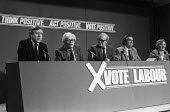 General Election 1983. Labour Party Press conference, Roy Hattersley, Michael Foot, Jim Mortimer, Dennis Healey, Gwyneth Dunwoody - NLA - 31-05-1983