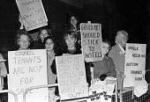 1983 Council tenants from the Alton housing estate in Roehampton, Wandsworth, South London, protest at plans by the council to sell off the estate to Grand Metropolitan - NLA - 20-11-1983