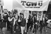 March in support of Carousel workers, Edinburgh 1983 - NLA - 1980s,1983,activist,activists,against,banner,banners,CAMPAIGNING,CAMPAIGNS,Carousel,DEMONSTRATING,Demonstration,FEMALE,member,member members,members,people,person,persons,Protest,PROTESTER,PROTESTERS,
