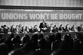 TUC rally of civil service unions in London 1984 in defence of union rights after unions at GCHQ were banned. Gen sec of TUC Len Murray speaking. Unions Won't Be Bought - NLA - 1980s,1984,ASLEF,CCSU,Civil service,defence,DEFENSE,GCHQ,general council,James,Jim Callaghan,Labour Party,Len Murray,London,member,member members,members,MP,MPs,POL,political,politician,politicians,Po