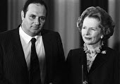 Margaret Thatcher and Eddie Shah, the anti-union owner of the Stockport Messenger, Aims of Industry event, 1984 National Free Enterprise Award - NLA - 1980s,1984,Aims of Industry,capitalism,CONSERVATIVE,Conservative Party,conservatives,Eddie Shah,Industries,Industry,Margaret Thatcher,member,member members,members,MP,MPs,newspaper,newspaper proprieto