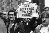 Busmen lobby Parliament against cuts, rationalisation and plans for privatisation of public transport, London 1984 FOE No Beaching On the Buses - NLA - 1980s,1984,activist,activists,against,BUS,bus cuts,bus service,bus workers,Buses,Busmen,CAMPAIGNING,CAMPAIGNS,cuts,DEMONSTRATING,Demonstration,lobby,London,member,member members,members,Parliament,peo