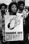 Protest against the US invasion of Grenada, London 1983 - Peter Arkell - 1980s,1983,activist,activists,against,american,americans,anti,banner,banners,CAMPAIGNING,CAMPAIGNS,DEMONSTRATING,Demonstration,FEMALE,Grenada,Grenadian,Grenadians,imperialism,intervention,Left,left wi