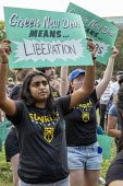 Detroit, Michigan, USA: Sunrise Movement rally for a Green New Deal outside the Democratic Presidential Debate - Jim West - 30-07-2019