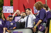Detroit, Michigan USA Democratic Presidential candidate Pete Buttiegieg speaking, SEIU Security guards rally at the Labor Legacy Monument for union recognition at downtown buildings owned by businessm... - Jim West - 31-07-2019
