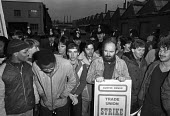 Strike at British Leyland plant, Cowley, Oxford, 1984 over cuts an redundancies - NLA - 1980s,1984,AUEW,BL,British Leyland,carworkers,CLJ,cuts,DISPUTE,disputes,early morning,FACTORIES,factory,force,gate,gates,Industrial dispute,job loss,JOBS,losses,male,man,member,member members,members,