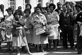 Protest against NHS private contractors, St Barts Hospital London 1985 - NLA - 24-04-1985