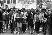 School pupils strike against compulsory Youth Training Scheme (YTS) London 1985 - NLA - 1980s,1985,activist,activists,adolescence,adolescent,adolescents,against,BAME,BAMEs,banner,banners,Black,Black and White,BME,bmes,CAMPAIGNING,CAMPAIGNS,child,CHILDHOOD,children,DEMONSTRATING,Demonstra