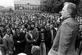 Mass meeting Ford workers Halewood, Liverpool, 1978 at the start of a strike for a �20 pay rise and a shorter week. The strike was a challenge to government policy of wage restraint at the start of th... - NLA - 1970s,1978,Asian,Asians,auto,automotive,Automotive Industry,BAME,BAMEs,Black,Black and White,BME,bmes,Car Industry,carindustry,disputes,diversity,EARNINGS,ethnic,ethnicity,Ford,government,Halewood,Inc