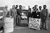Ford workers picket line Langley, Slough, Berkshire, 1978 strike for a �20 pay rise and a shorter week. The strike was a challenge to government policy of wage restraint at the start of the Winter of... - NLA - 1970s,1978,auto,automotive,Automotive Industry,BAME,BAMEs,Black,Black and White,BME,bmes,Car Industry,carindustry,DISPUTE,disputes,diversity,EARNINGS,ethnic,ethnicity,FACTORIES,factory,Ford,Fraud,frau