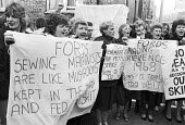 Ford sewing machinists lobby the TGWU for action in support of equal pay 1984 - Peter Arkell - 1980s,1984,banner,banners,Equal Pay,equality,FEMALE,Ford,lobby,member,member members,members,official,officials,pay equality,people,person,persons,SEW,sewing,sewing machinist,sewing machinists,TGWU,Tr