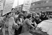 Ford sewing machinists lobby the TGWU for action in support of equal pay 1984 Ron Todd as he leaves after talks with Ford management in London over their claim for equal pay and a pay rise. - Peter Arkell - 15-11-1984
