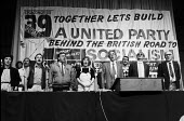 Communist Party 39th Congress London 1985. The party was splitting - Peter Arkell - 1980s,1985,39th Special Congress,banner,banners,British Road to Socialism,communism,Communist Party,CPGB,Gen Sec,London,male,man,men,Party,people,person,persons,POL,political,POLITICIAN,POLITICIANS,Po