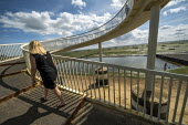 Pedestrian bridge, Leigh-on-Sea, Essex - Jess Hurd - 2010s,2019,bridge,COAST,Essex,estuaries,estuary,FEMALE,Leigh-on-Sea,Leisure,LFL,LIFE,Lifestyle,OCEAN,Pedestrian,pedestrians,PEOPLE,person,persons,RECREATION,RECREATIONAL,rural,sea,seafront,SEAFRONTS,s