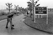 Youth at Send Detention Centre, Woking, Surrey, 1979. Short, sharp shock correction centre. - Martin Mayer - 27-11-1979