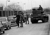 Joint Army-police operation occupying Heathrow Airport 1974 set up road blocks in response to a security threat from the IRA - Martin Mayer - 05-01-1974