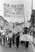 Protest against British Rail removing blue asbestos from a shed, Ilford, East London 1979 - NLA - 1970s,1979,activist,activists,against,Anti Fascist,Asbestos,asbestosis,banner,banners,boy,boys,CAMPAIGNING,CAMPAIGNS,child,CHILDHOOD,children,danger,dangerous,dangers,DEMONSTRATING,Demonstration,dust,