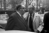Lord Goodman (L) and Max Aitken of Beaverbrook newspapers 1975 attending talks between the NGA print union and the Newspaper Publishers Association, London - NLA - 17-01-1975