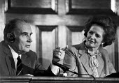 President Francois Mitterrand with Margaret Thatcher, press conference, London 1983 They agreed Cruise missiles should be deployed in Europe - NLA - 1980s,1983,conference,conferences,CONSERVATIVE,Conservative Party,conservatives,Cruise,Europe,FEMALE,France,Francois Mitterand,French,London,male,man,Margaret Thatcher,meeting,meetings,men,MISSILE,mis