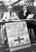 Frank Hansford-Miller, John Stonehouse, London 1976, English National Party press conference, garden of Hansford-Miller's house. ENP Save England Crusade - Peter Arkell - 21-04-1976