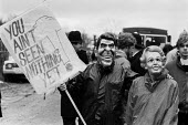 Protest RAF Molesworth, Cambridgeshire, 1985 an American cruise missile base. Ronald Reagan and Margaret Thatcher masks - Peter Arkell - 08-04-1985