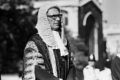 Lord John Donaldson, Master of the Rolls, 1985, Judges Procession to Lord Chancellor's Breakfast, The House of Lords, Westminster, London. He was the presiding judge at the infamous Guildford 4 miscar... - Peter Arkell - 1980s,1985,Breakfast,ceremonial,ceremonies,ceremony,CLJ,Court,Guildford 4,House,houses,judge,judges,law,London,Lord Chancellor's Breakfast,Lord Donaldson,male,man,men,NIRC,people,person,persons,presid