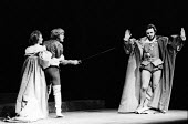 Hamlet by William Shakesepeare directed by Tony Richardson Roundhouse Theatre London 1969. JUdy Parfitt as Gertrude MIchael Pennington as Laertes (C) and Anthony Hopkins as Claudius (R)Hamlet by Willi... - Patrick Eagar - 17-02-1969
