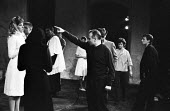 Lindsay Anderson (C) directing Lynn Redgrave (L), Andorra by Max Frisch  Old Vic Theatre London 1964Lindsay Anderson (C) directing Lynn Redgrave (L), Andorra by Max Frisch Old Vic Theatre London 1964L... - Romano Cagnoni - 1960s,1964,ACE,act,acting,actor,actors,adult,adults,Andorra,arts,culture,directing,Director,DIRECTORS,drama,DRAMATIC,entertainment,Lindsay Anderson,London,Lynn Redgrave,play,PLAYING,plays,stage,theatr