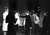 Lindsay Anderson (C) directing actor Lynn Redgrave (L) by Max Frisch and directed by Lindsay Anderson Old Vic Theatre London 1964Lindsay Anderson (C) directing actor Lynn Redgrave (L) by Max Frisch an... - Romano Cagnoni - 1960s,1964,ACE,act,acting,actor,actors,Andorra,arts,culture,directing,drama,DRAMATIC,entertainment,Lindsay Anderson,London,Lynn Redgrave,play,PLAYING,plays,stage,theatre,THEATRES