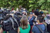 Detroit, Michigan, USA: Rashida Tlaib speaking to media, Jewish Shabbat service to support Congresswoman Rashida Tlaib after the government of Israel denied her permission to visit Israel and Palestin... - Jim West - 16-08-2019