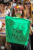 Extinction Rebellion protest against the fire destruction of the Amazon rainforest, Brazilian Embassy, London - Jess Hurd - 2010s,2019,activist,activists,against,Amazon,Bolsonaro,Brazilian Embassy,CAMPAIGN,campaigner,campaigners,CAMPAIGNING,CAMPAIGNS,child,childhood,CHILDREN,cities,City,climate change,crisis,deforestation,