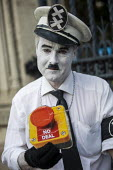 Charlie Chaplin, The Great Dictator, Defend democracy, resist the Parliament Shutdown protest as the Queen agrees to suspend Parliament at Boris Johnsons request, College Green, Westminster, London. - Jess Hurd - 2010s,2019,activist,activists,against,Boris Johnson,Brexit,CAMPAIGN,campaigner,campaigners,CAMPAIGNING,CAMPAIGNS,Charlie Chaplin,civil rights,College,College Green,COLLEGES,costume,costumes,Defend dem
