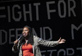 Dawn Butler MP speaking Stop The Coup, defend democracy protest, Downing Street, Westminster, London. - Jess Hurd - 2010s,2019,activist,activists,against,Another Europe is Possible,Brexit,CAMPAIGNING,CAMPAIGNS,Dawn,defend democracy,democracy,DEMONSTRATING,demonstration,Downing Street,EU,European Union,FEMALE,Labour