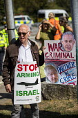 Stop DSEi Arms Fair protest blocking vehicles entering ExCel centre London Stop Arming Israel. Defence Security and Equipment International exhibition - Jess Hurd - 02-09-2019